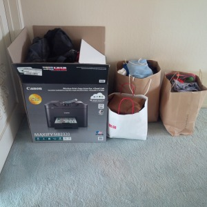 Clothes in box and bags after tidying